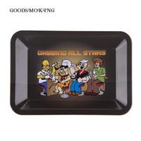estrella rodante al por mayor-Rolling Tray Dabbing All Stars Bandejas con un tamaño pequeño Bandeja de dibujos animados de metal Paleta para fumar Accesorios