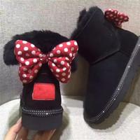 dot winterschuhe großhandel-Winter Kinder Schnee Stiefel Aus Echtem Leder Stiefel für Kinder Nette Karton Punkte Bogen Kinder Mädchen Warme Schuhe