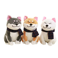 Wholesale large stuffed toy dogs - 45CM Shiba Inu Plush Toy Wearing Scarf Stuffed Animals Dogs Toys Kawaii Large Shiba Dolls Valentines Gifts for Girlfriend