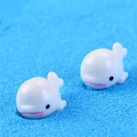 ingrosso bambola di bonsai-Mini Carino Bianco Blu Delfino Decorazione merci FAI DA TE Bonsai Artigianato Micro Paesaggio Delfini bambola Artigianato T3I0098