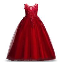büyük çiçek balo elbiseleri toptan satış-Kraliyet Gençler Büyük Kız Prenses Nakış Elbise Çiçek Dantel Prenses Çocuk Bridemaid Elbiseler Düğün Kızlar Için Parti Balo Sleeveles Lo