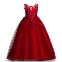 Wholesale dresses for teenagers - Royal Teenagers Big Girl Princess Embroidery Dress Flower Lace Princess Children Bridemaid Dresses For Wedding Girls Party Prom Sleeveles Lo