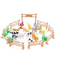 детские игрушки для мальчиков оптовых-Животное модель игрушки птицы семья ферма забор моделирование костюм 15 животных дети ребенок головоломка горячей продажи 4 5db V