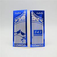 cartões de nome de pássaro venda por atacado-Corte De Laser Azul Metálico Luxo Gaiola De Pássaro Cartões De Convite De Casamento Personalizado Nome Oco Festa De Casamento Imprimível Envelopes De Cartão De Convite