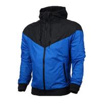 плюс размер hoodies оптовых-Бренд Дизайнер Толстовка С Капюшоном Мода Мужская Куртка С Длинным Рукавом Осенние Виды Спорта На Открытом Воздухе Windrunner Молния Ветровка Пальто Плюс Размер S - 3XL