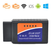 Wholesale ELM327 OBD2 WIFI V1 Car Diagnostic Tool ELM OBD II Scanner Chip PIC18F25K80 Working for Android IOS Windows