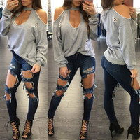 Wholesale Off Shoulder Turtleneck - 2018 Women Blouses Sexy Long Sleeve Turtleneck Off Shoulder Shirts Solid Hole Hollow Out Blusas Feminias Casual Tops
