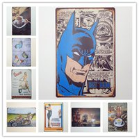 Wholesale batman sign for sale - Group buy Batman Vespa Audrey Hepburn Coffee Vintage metal Retro Tin sign Art wall decoration House Cafe Bar Vintage Metal craft