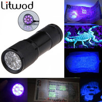 Wholesale higher work - Z50Mini LED flashlight Aluminum Portable light UV Flashlight torch Violet Light 9 LED UV Torch Light Lamp Free Shipping