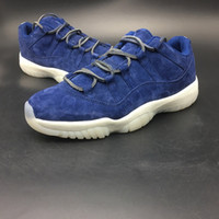 Wholesale Suede Summer Boots - 2018 New 11 Low re2pect men basketball shoes 11s jeter blue suede mens luxury Carbon Fiber sports shoes Limited designer sneaker AV2187-441