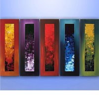 Wholesale large hand painted canvas art - Hand Painted Modern Abstract Oil Painting on Canvas Large Size Paintings Knife 5 Piece Wall Art Pictures For Living Room