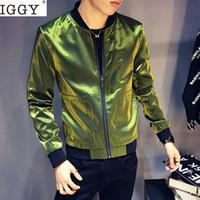 ingrosso abito luminoso-2018 Moda Uomo Giacca Luminosa Slim Fit Autunno Cappotto Giacca Bomber Uomo Hiphop Streetwear Vestito Casual Giacche A Vento Giacche Uomo