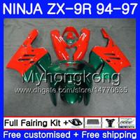 95 zx 9r verkleidungen großhandel-Karosserie für KAWASAKI NINJA ZX900 ZX 9R 1994 1995 1996 1997 221HM.46 ZX 9 R 900 900CC ZX-9R 94 97 ZX9R 94 95 96 97 hot Orange Grün Verkleidungskit