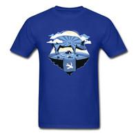porco azul dos desenhos animados venda por atacado-Animal 2018 Design Novidade Camisa Azul T Para Homens Grande Porco Fazenda Ilha de Impressão de Manga Curta Dos Desenhos Animados Tshirt Algodão Engraçado Top