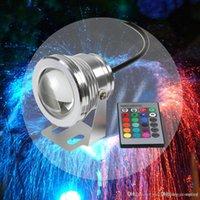 12v impermeable cambio de color remoto al por mayor-10W COB LED Spot luz de la piscina bajo el agua IP68 12V 1000LM impermeable fuente de natación RGB 16 cambio de color controlador remoto