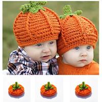 Winter Warm Soft Kids Pumpkin Knitted Hats Cute Children Pumpkin Crochet  Caps Halloween Party Photography Props Newborn Pumpkin Cap 2a7cb9abf13a