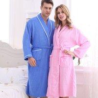 375786c351 Couple 100% Cotton Terry Bathrobe Lovers Solid Towel Sleepwear Men Long  Bath Robe Kimono Femme Dressing Gown Bride Robes
