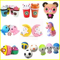 Wholesale Soft Bears - New Squishy Toy unicorn bear Ice cream Football seahorse acaleph burger cat squishies Slow Rising 10cm 15cm Soft Squeeze Cute gift kids t