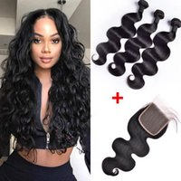 Wholesale chinese body wave hair online - Brazilian Body Wave Human Hair Bundles With x4 Top Lace Closure x4 Ear To Ear Lace Frontal Natural Black Pre Plucked Bleached Knots