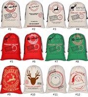 Wholesale santa animals for sale - Christmas Gift Bags Large Monogrammable Canvas Santa Claus Drawstring Christmas Bag With Reindeers Cotton Christmas Gifts Sack Bags ELB047