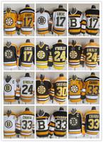 boston jersey lucic venda por atacado-Homens mais novos do CCM costurados Boston Bruins # 17 LUCIC / # 24 O'REILLY / # 30 CHEVERS / # 33 CHARA Branco Amarelo Preto CCM Hockey No Gelo Jerseys