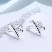 Fine 925 Sterling Silver Earring,2018 New Style 925 Silver X shaped geometric Earrings For Women Fashion Jewelry Hot Sale SE019