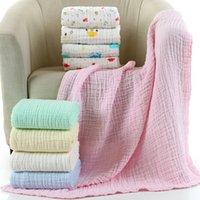 осеннее одеяло оптовых-Isa дети Муслина детское одеяло новорожденный пеленание осень младенческой supersoft хлопок одеяло 6 слоев Etamine 110 * 110 см пеленание ребенка