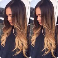 cabello largo perfecto al por mayor-Las mujeres peluca llena ondulada larga Ombre de pelo natural a largo ondulado castaño / rubio alta temperatura sintética pelucas de pelo