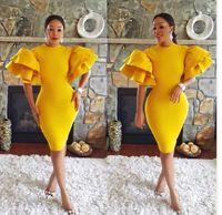 arabisches satinkleid großhandel-Aso Ebi Stil Cocktailkleid afrikanischen Narzissen Satin Prom Party 2019 Meerjungfrau Vintage Tee-Ength Arabian formale Abendkleider Kleider