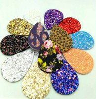Wholesale christmas earrings for sale - Christmas Gift Kendra Style PU leather glitter sparkly Oval Earrings Fashion Dangle Earrings for Women