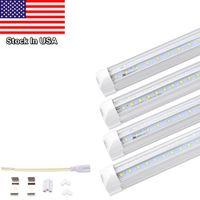 Wholesale t8 tube light clear cover - Stock In USA V Shaped LED Tube Lights, Dual-sided V-shape Integrated, AC85-265V, Clear Cover, Cool White 6000K, LED Cooler Door Lights