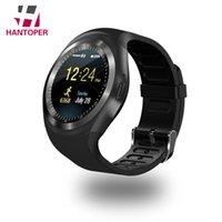 наручные часы gsm оптовых-HANTOPER Y1 смарт-часы Reloj Relogio 2G GSM SIM приложение синхронизации цифровые наручные часы Smartwatch для Android телефон часы