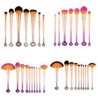 Wholesale colorful eye make up online - Shell Makeup Brushes Colorful Foundation Power Eye Shadow Concealer Fan Beauty Cosmetics Brush Set Make Up Brush Kit Fan Brush