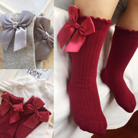 Wholesale socks ribbons online - Hot In Baby Girls Child Bowknot Socks Ribbon Bow Cotton Soft Half Girls Sock Infant Toddler Princess Lovely Knee Socks Kids Sokken