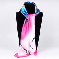 Wholesale flower hijabs - New Design Women Spring Silk Scarf 2018 Fashion Flower Printed Square Polyester Scarves Shawl Summer Shawls And Hijabs Bandana