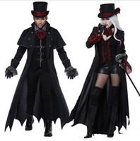yetişkin cadılar bayramı cadı kostümleri toptan satış-Deluxe 6 Adet / takım Gotik Cadılar Bayramı Seksi Cadı Vampir Kostüm Adam Bayan Cosplay Parti Kostüm Yetişkin Çiftler Giyim için