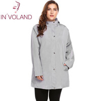 e25bea70a40 IN VOLAND Plus Size L-4XL Women Trench Coat Autumn Winter Casual Hooded  Windproof Long Sleeve Solid Large Rain Overcoat Big Size Y18110804