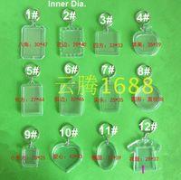 Wholesale photo frame styles - Free shipping 1000pcs 13 style DIY Acrylic Blank Photo Keychains Shaped Clear Key Chains Insert Photo Plastic Keyrings