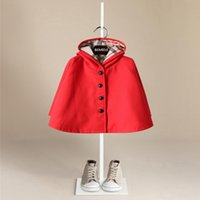Wholesale Three Years Girls Clothes - Boutique Children Cloak Hooded Trench coats Red New year clothing Girls outwear England style Fashion children clothing 2018 New