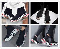 Wholesale Women S Fashion Socks - 2018 Designer Luxury Paris Triple-S Sneaker 18ss Speed Mid Love Running Shoes Men Women Triple S Black Red Fashion Casual Sports Socks Shoes