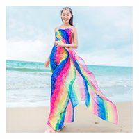 Wholesale long white silk chiffon scarves - GERINLY Summer Scarf Women's 150*180cm Long Pareo Scarves Striped Rainbow Print Chiffon Hijab Bikini Cover Up Beach Sarongs Wrap
