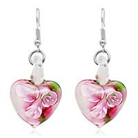 Wholesale American Heart Hoops - Glow in Dark Floral Heart Italy Murano Glass Earring Fashion Earrings Luxury Designer Earring Designer Jewelry Big Hoop Earrings