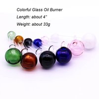 Wholesale great handles - Short Colorful Glass Burner Pipe Pyrex Glass Oil Burner Pipe Great Tube Glass Pipes Mini Smoking Handle Pipes