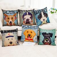 ingrosso cuscini cane a casa-Fodere per cuscini modello bel cane Linea stampa digitale divano federa Cuscino quadrato per ufficio Home regalo grande cane amante