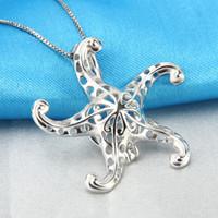 Wholesale 925 sterling silver starfish - Beautiful Charm 3pcs 925 Sterling Silver Starfish Cage Pendants, 27.7*29.7*10.7mm, free shipping