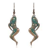 ingrosso orecchini stile antico-Orecchini di goccia della ragazza del bikini del bronzo antico di rame Orecchini unici di stile dell'orecchino di stile rustico Orecchini di modo dell'orecchino delle donne
