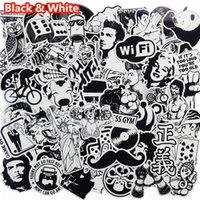 Wholesale Vinyl Flashing - 101 Pcs Black and White Sticker Snowboard Car Styling Sleigh Box Lage Fridge Toy Vinyl Decal Home decor DIY Cool Stickers