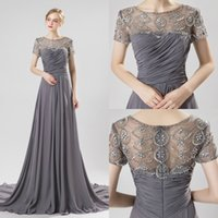 Wholesale elegant mother bride dresses chiffon short resale online - Grey Beaded Mother Of The Bride Dresses Jewel Neck Short Sleeves Pleats Chiffon Crystal Elegant Evening Wedding Guest Dress