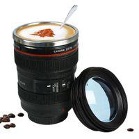 ingrosso tazze-Nuovo pranzo 400 ml in acciaio inossidabile tazza dell'obiettivo della fotocamera con coperchio nuove fantastiche tazze da caffè tazza di tè regali novità caneca tazze da tè bicchieri