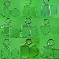 Wholesale keychain picture frames wholesale online - Unisex Transparent Blank Insert Photo PC Keychain DIY Acrylic Picture Frame Round Rectangle Heart New Women Men Keyring
